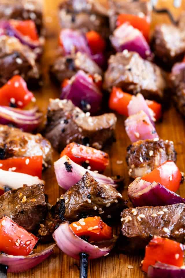 Steak kabobs with vegetables