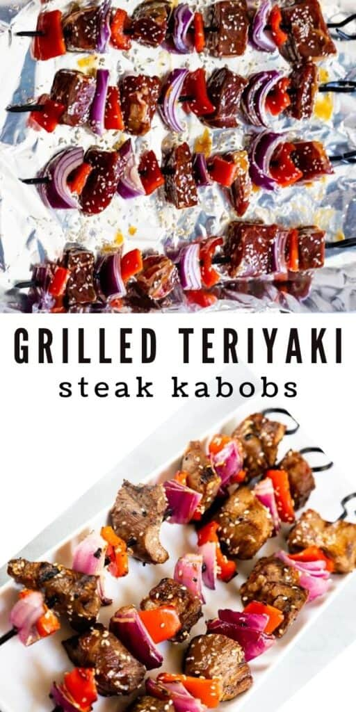 Grilled teriyaki steak kabobs collage