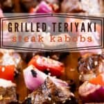 The best teriyaki steak kabobs on a cutting board