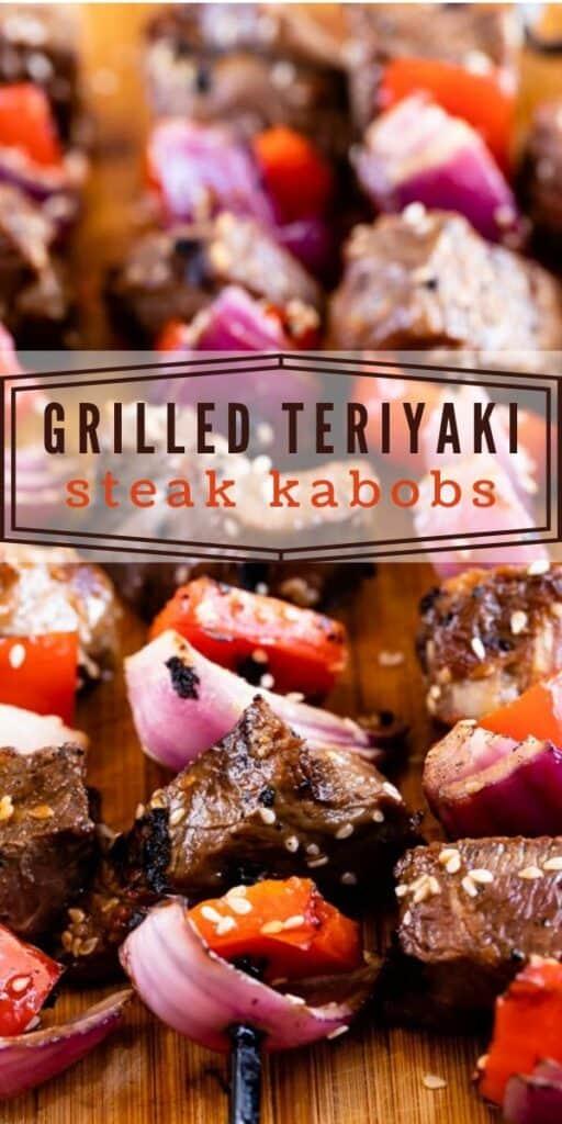 The best teriyaki steak kabobs on a cutting board