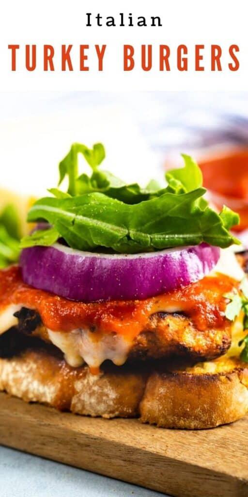 Ground turkey italian burgers on a cutting board