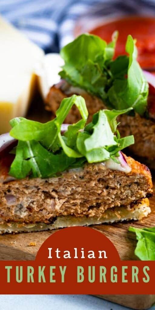 Turkey burgers sitting on a cutting board