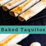 Photo collage of baked taquitos with colorblock and recipe title in middle of photos