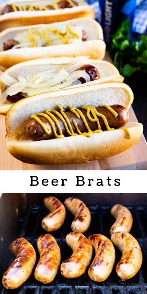 Photo collage of beer brats on the grill and finished with recipe title in the middle