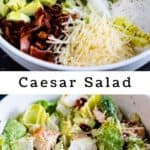 Photo collage of caesar salad in white bowl with recipe title in the middle