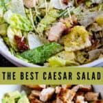 Two photo collage of caesar salad in a white bowl with recipe title in the middle of the photos