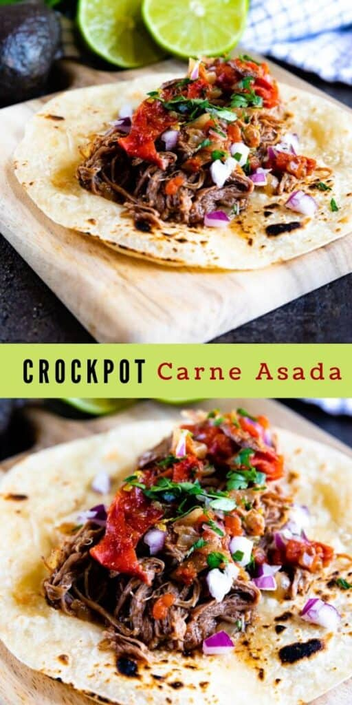 Photo collage of crockpot carne asada meat on tacos with recipe title in the middle