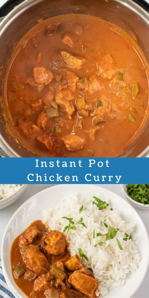 Photo collage of chicken curry in instant pot and on plate with recipe title in middle of photos