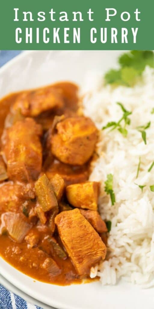 Close up shot of chicken curry and rice with colorblock and recipe title on top of photo