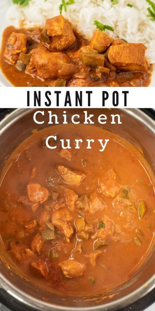 Photo collage of instant pot chicken curry with recipe title in middle of photos