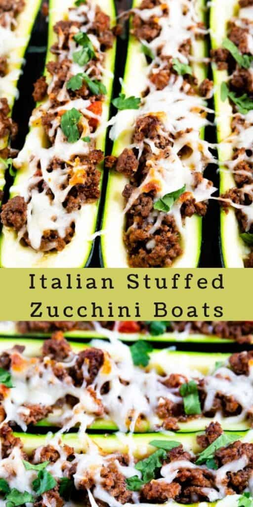 2 photo collage of italian stuffed zucchini boats with colorblock and recipe title in between the photos