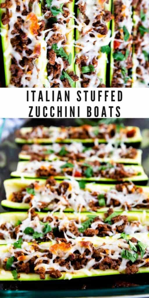 Two photo collage of italian stuffed zucchini boats with recipe title in middle
