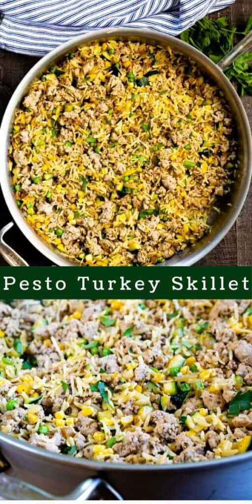 Photo collage of pesto turkey skillet meal with colorblock and recipe title in between the two photos