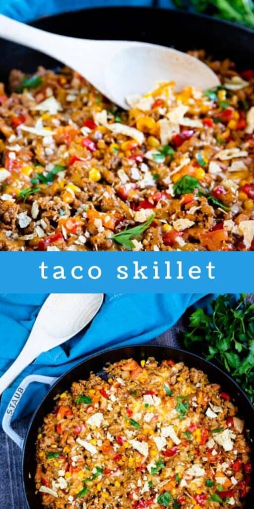 Taco skillet collage image with text