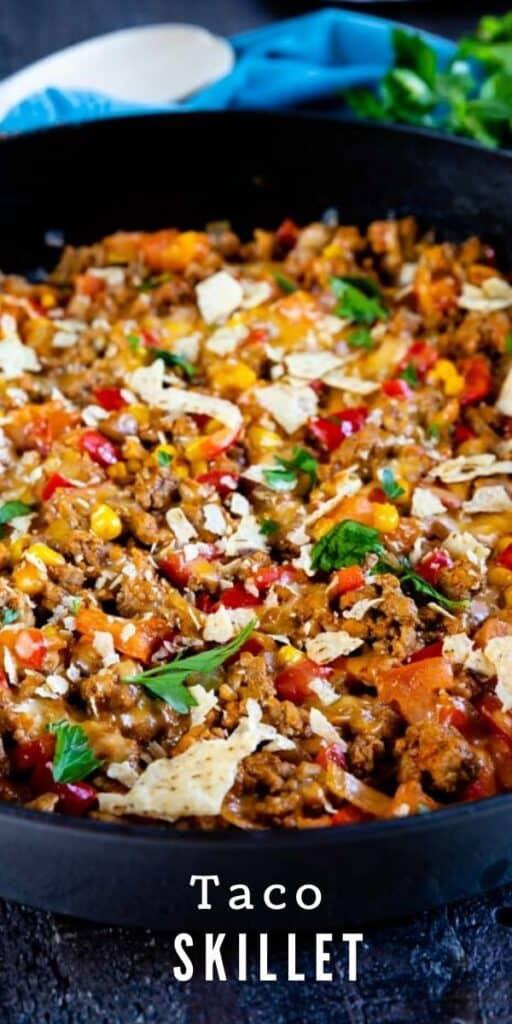 Closeup shot of finished taco skillet