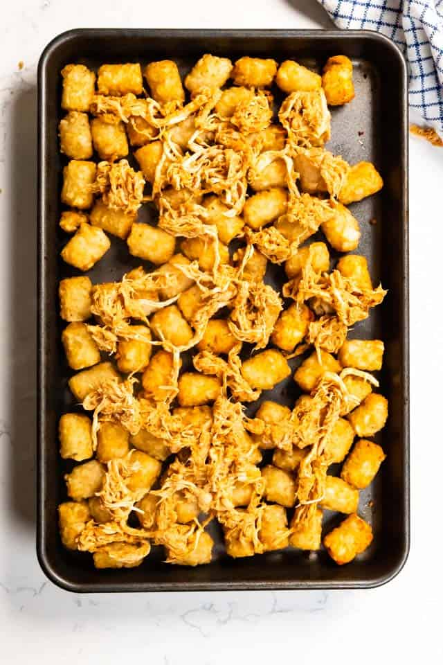Overhead shot of tater tot nachos with chicken