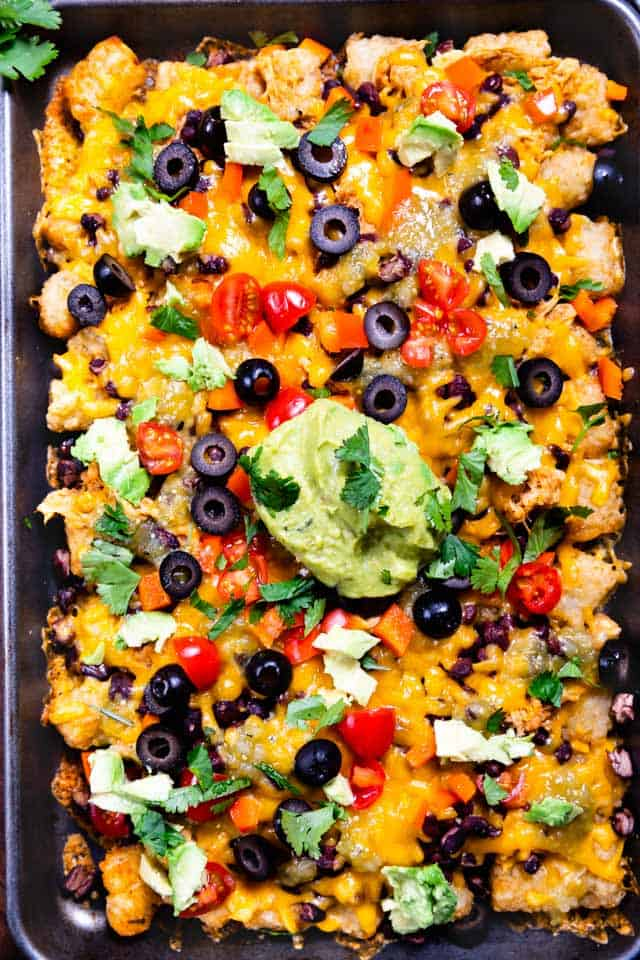 Tater tot nachos on sheet pan