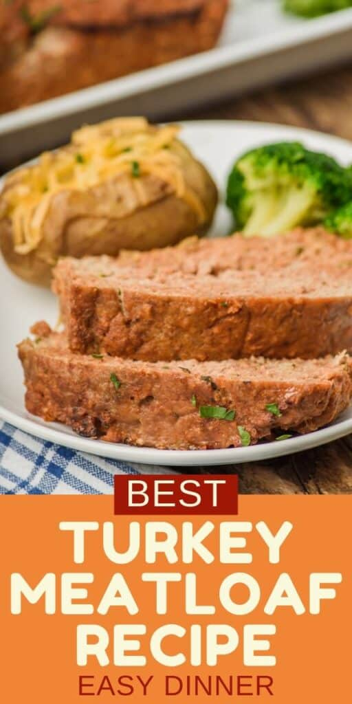 turkey meatloaf sliced on plate with color block and words at bottom