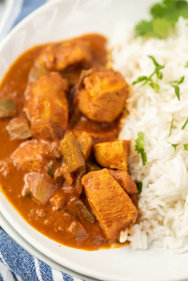 Closeup photo of chicken curry with rice in a bowl