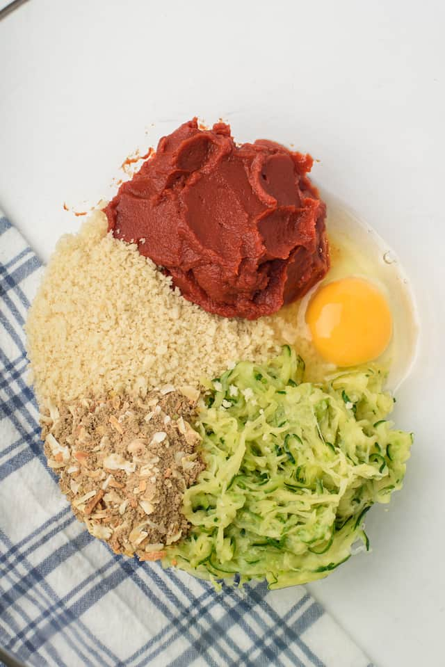 ingredients for turkey meatloaf in bowl