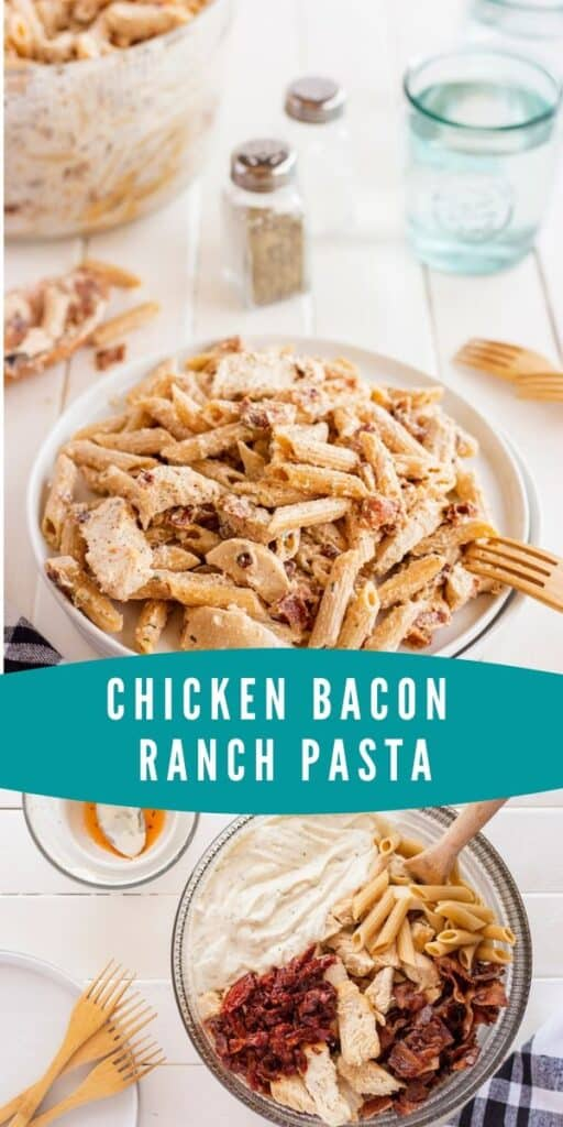 Collage of chicken bacon ranch pasta photos with teal color bock and recipe title in middle