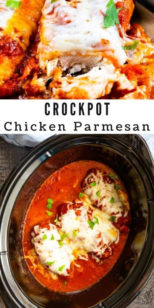 Photo collage showing crockpot chicken parmesan in the crockpot and once it's finished and plated with recipe title in middle of photos