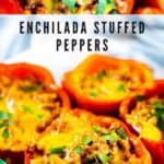 Two photos in a collage showing enchilada stuffed peppers