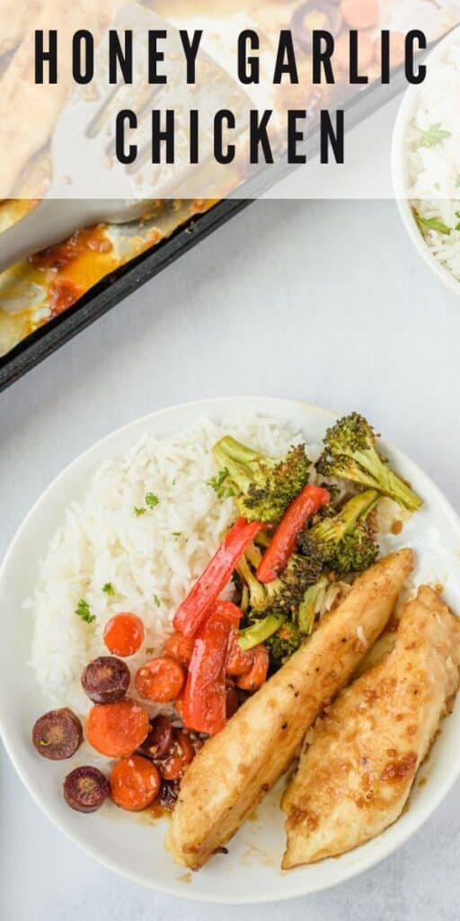 Overhead shot of honey garlic chicken, vegetables and rice on a white plate with recipe title on top of image