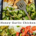 Photo collage showing sheet pan honey garlic chicken with recipe title in middle