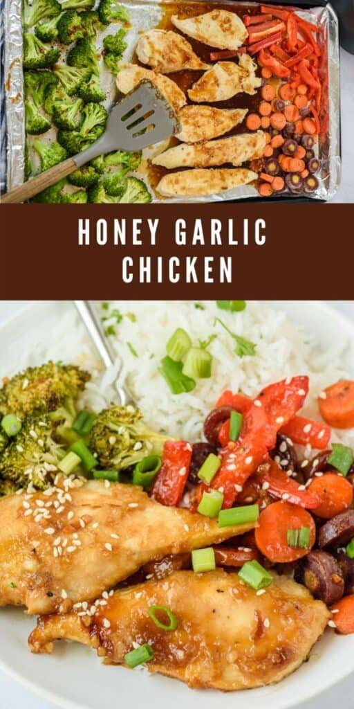Photo collage showing honey garlic chicken with recipe title in middle of photos