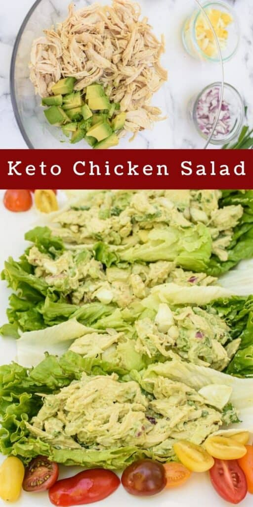 Photo collage of keto chicken salad before it's mixed together and after in lettuce wraps with recipe title in middle of photos