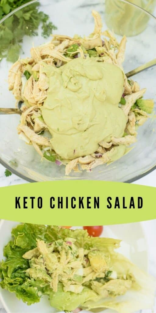 Two photo collage of keto chicken salad with green color block and recipe title in middle of photos