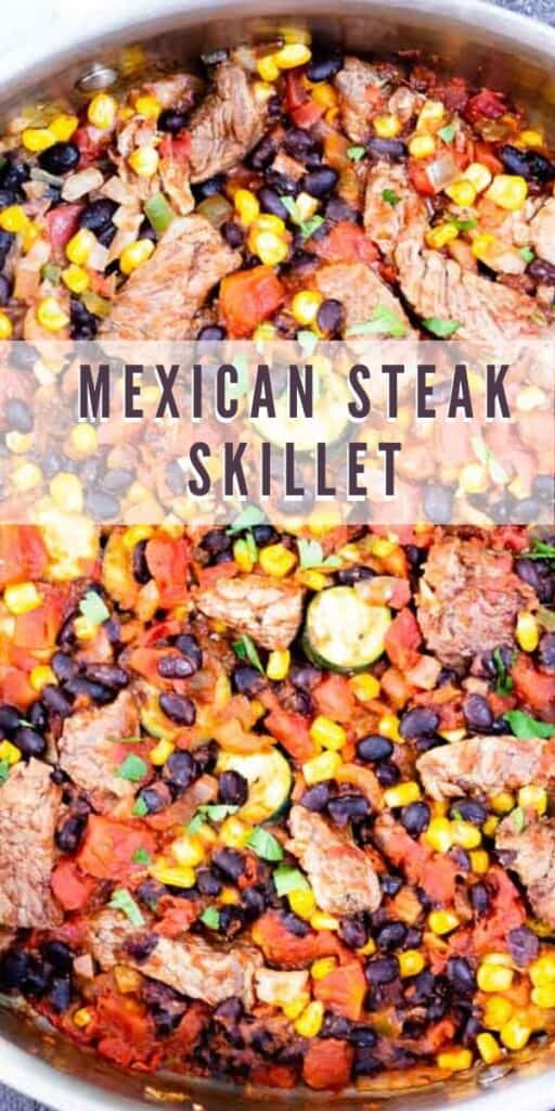 Overhead shot of mexican steak skillet with recipe title on top