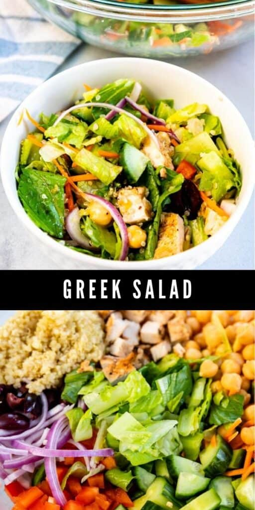 Photo collage of greek salad with recipe title in between photos