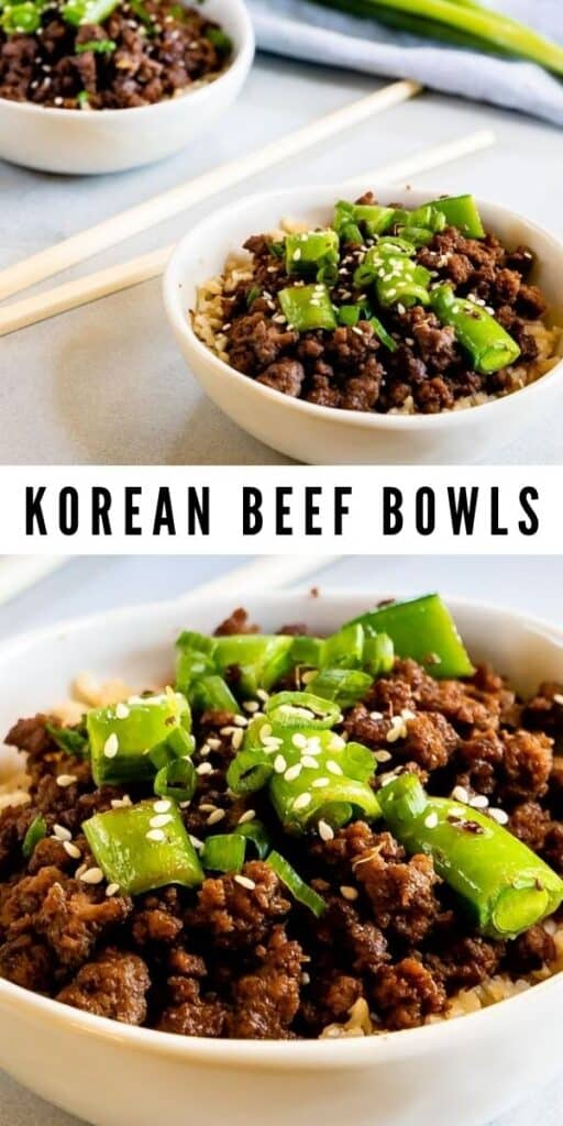 Collage of korean beef bowls with recipe title in the middle