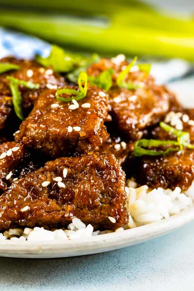 Mongolian beef with green onions on a plate with white rice