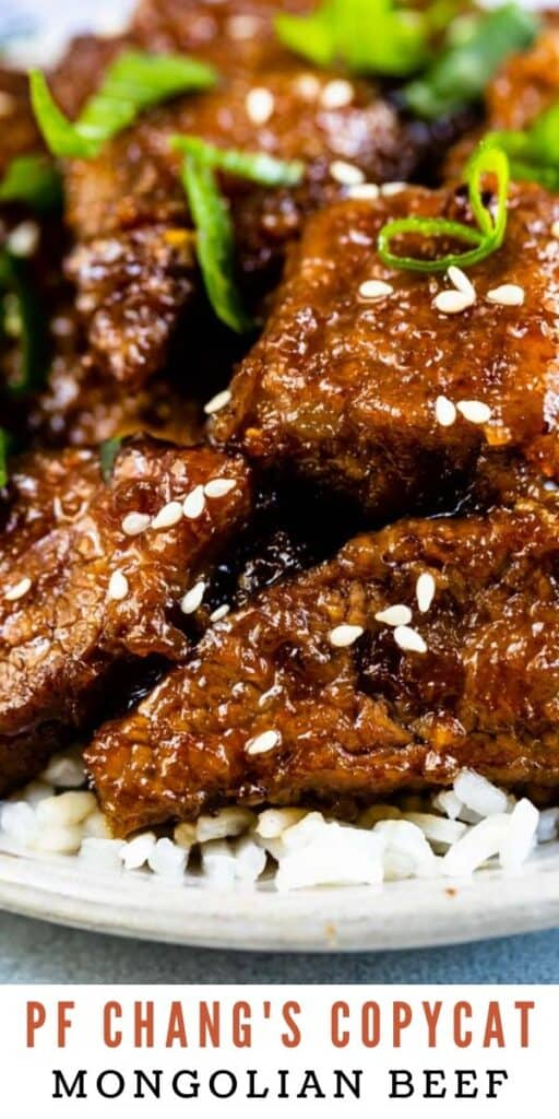 Close up shot of mongolian beef with recipe title on bottom of image