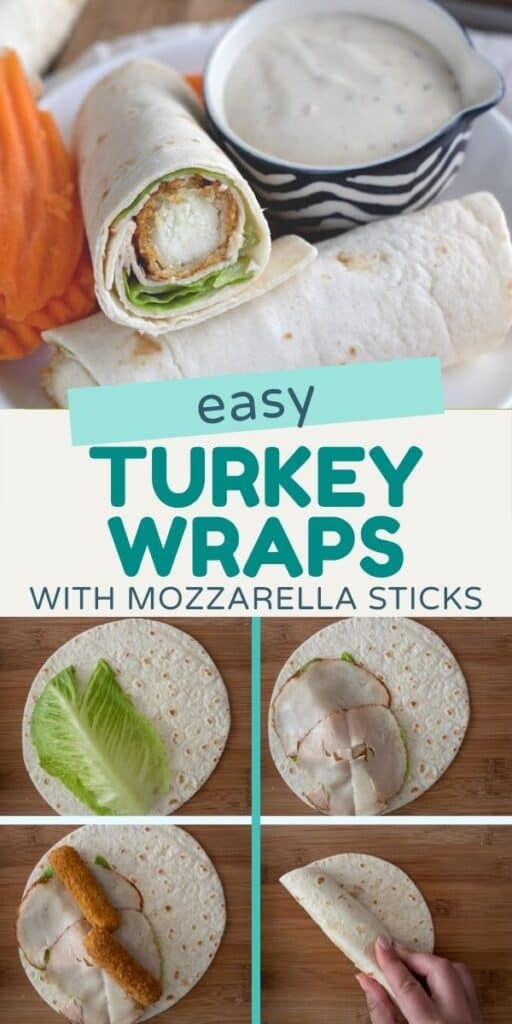 Collage showing easy turkey wraps with recipe title in between photos