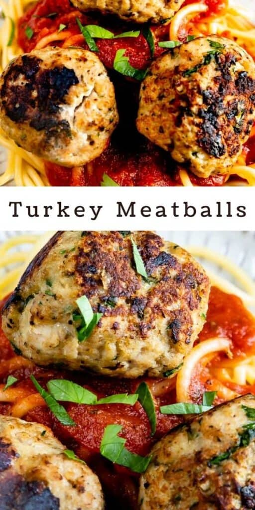 Photo collage showing turkey meatballs on top of pasta with recipe title in between photos