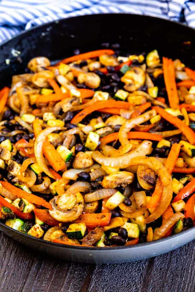Cooked vegetables in a skillet