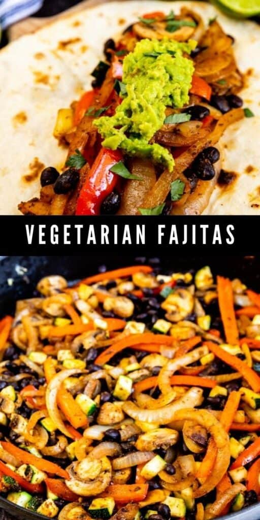 Photo collage showing vegetarian fajitas being cooked and finished in a tortilla with recipe title in middle