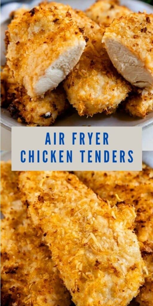 Photo collage of air fryer chicken tenders with recipe title in middle