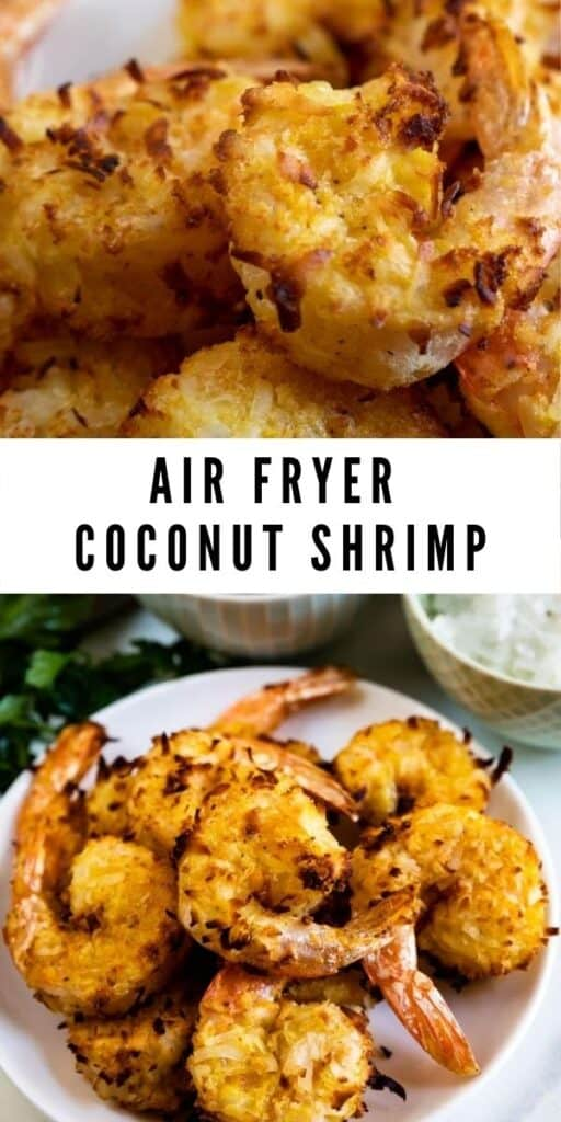Photo collage of air fryer coconut shrimp with recipe title in between photos