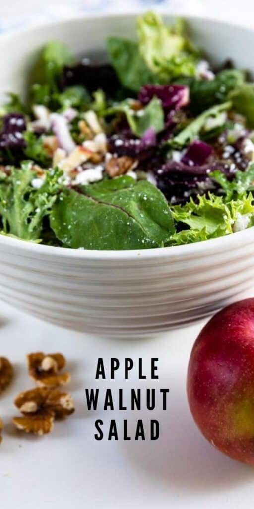 Apple walnut salad in a white bowl with walnuts and apple in front of bowl with recipe title on bottom of image