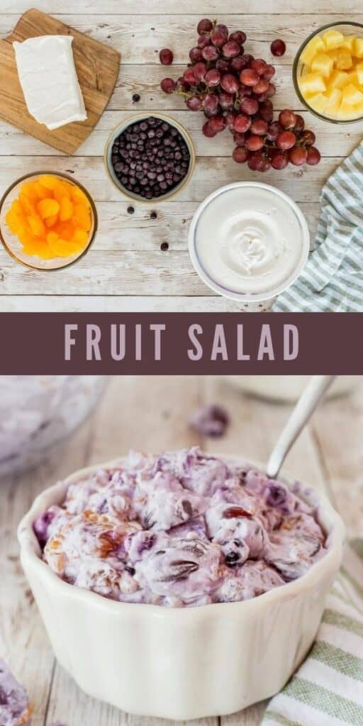 Photo collage of fruit salad photos with recipe title in the middle