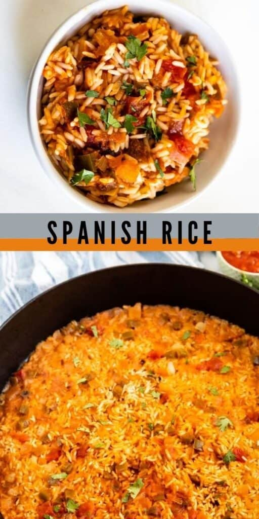Collage of spanish rice photos with recipe title in middle of photos
