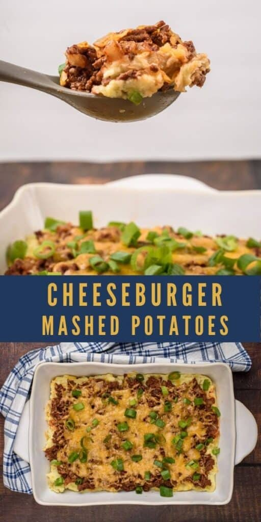 Photo collage showing cheeseburger mashed potatoes with recipe title in middle
