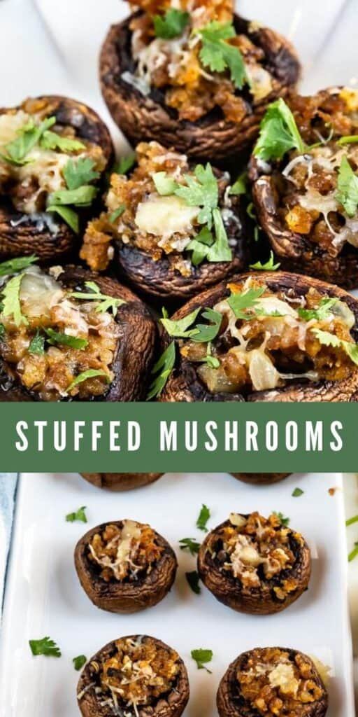 Photo collage of stuffed mushrooms with recipe title in middle of photos