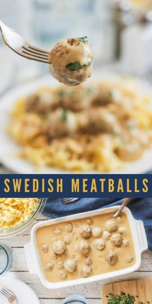 Photo collage of swedish meatballs with recipe title in between the two photos