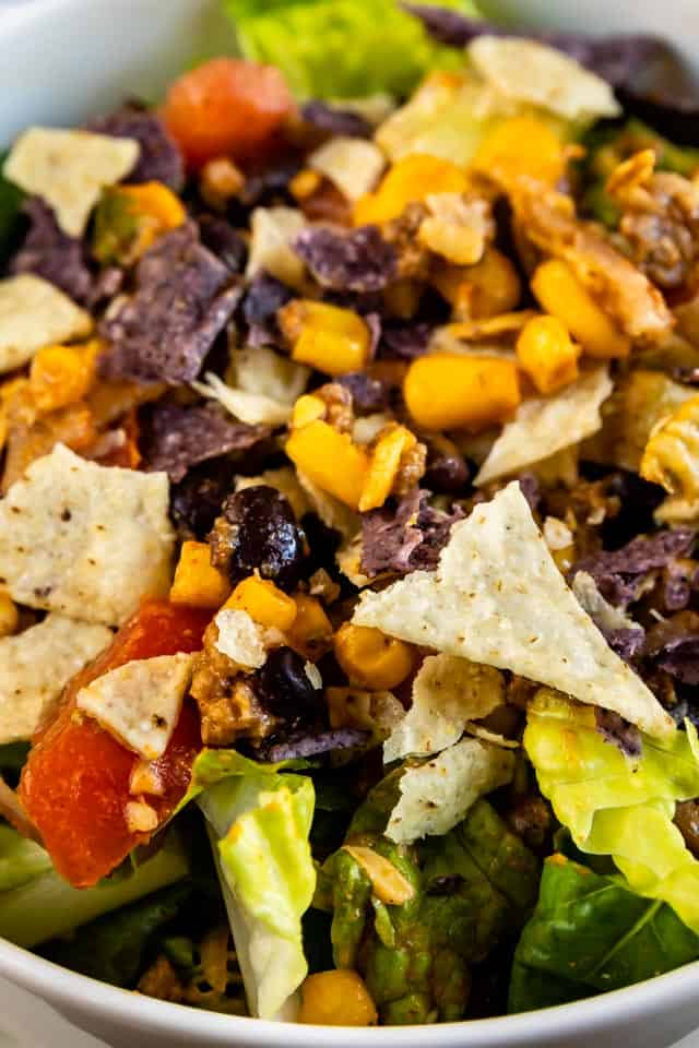 Close up shot of taco salad in a bowl